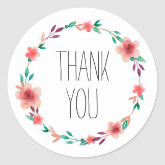 Floral Wedding Thank You Flower Wreath Favor Classic Round Sticker