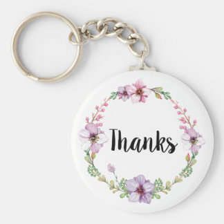 Floral Wedding Thanks Keychain