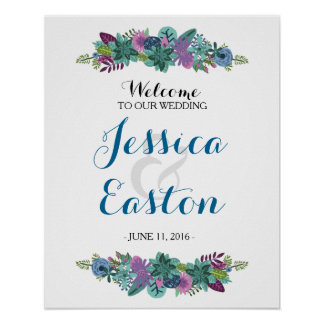 Floral Wedding Welcome Sign 16x20