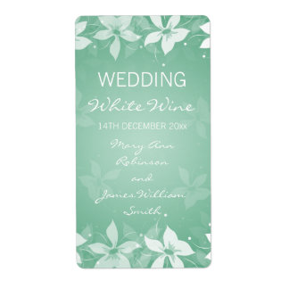 Floral Wedding Wine Label Exotic Blooms Mint Green