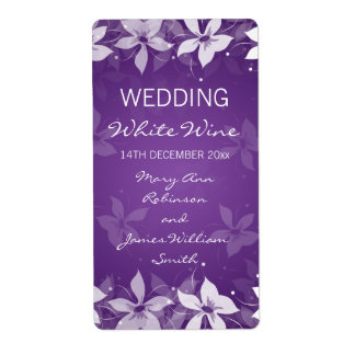 Floral Wedding Wine Label Exotic Blooms Purple
