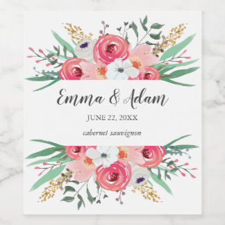Floral Wedding Wine Label Flowers Rustic Pink