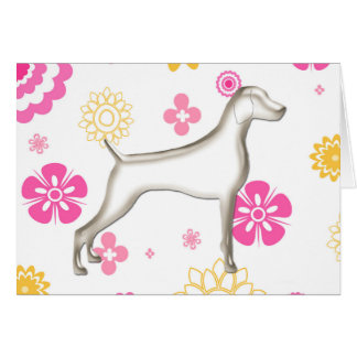 Floral Weimaraner Note Card, w/envelopes (pnk-ylw) Stationery Note Card
