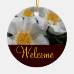 Floral Welcome Door Sign Double-Sided Ceramic Round Christmas Ornament