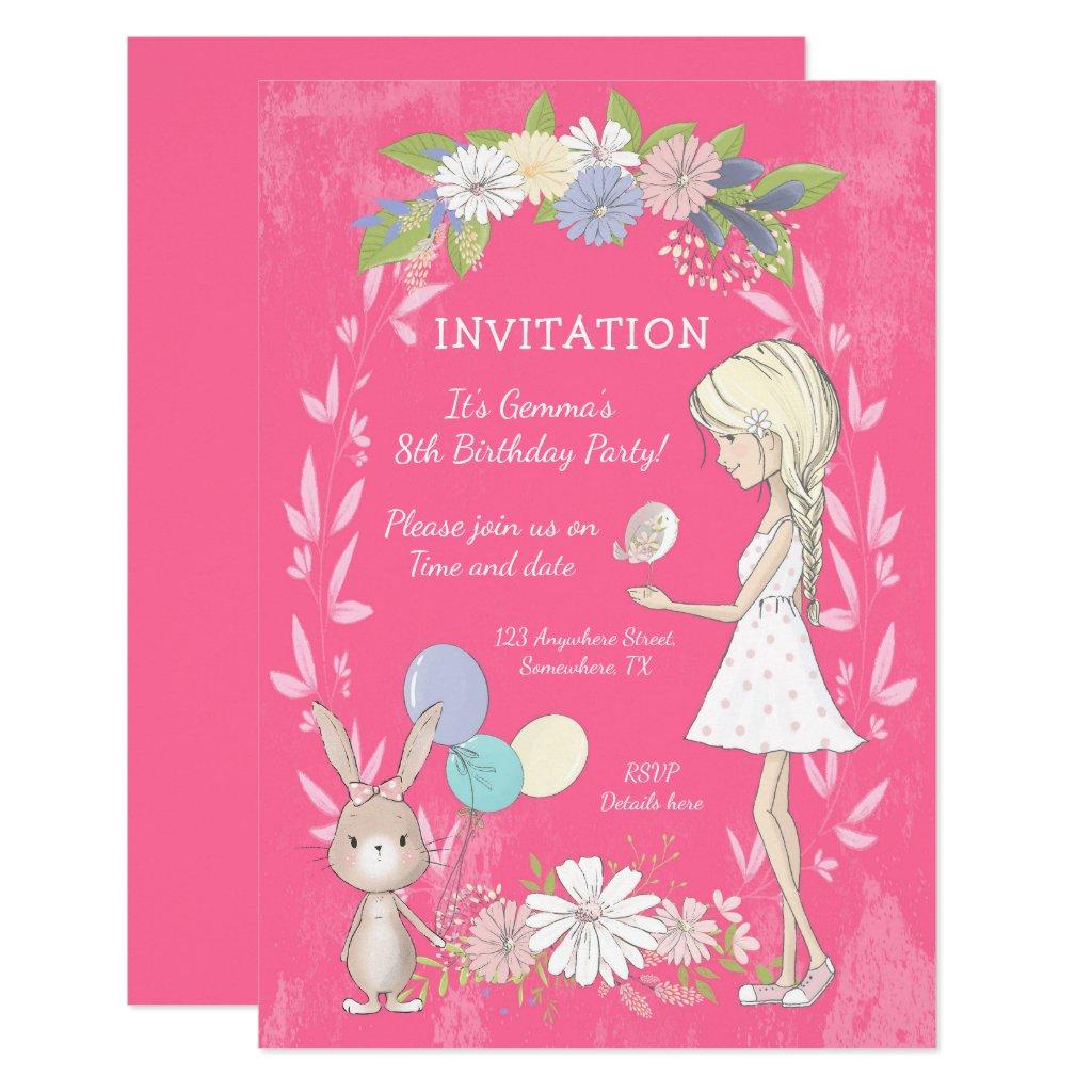 Floral/Whimsical Girl/Bunny/Bird/Birthday Party Invitation