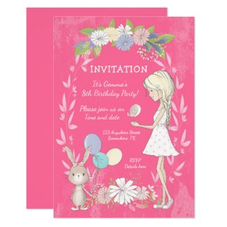 Floral/Whimsical Girl/Bunny/Bird/Birthday Party Invitation