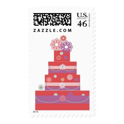 Floral Whimsical Pink Purple Wedding Cake Stamp by WEDDINGCAKES