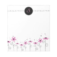 Floral Whimsy Customized Monogram Notepad