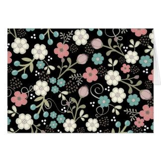 Floral Whimsy Modern Vintage Blank Notecard