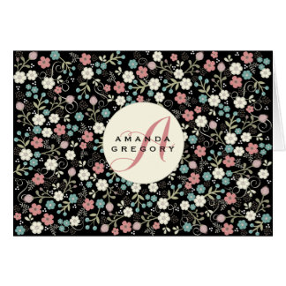 Floral Whimsy Modern Vintage Personalized Notecard Stationery Note Card