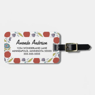 Floral Whimsy Pattern Personalized Luggage Tag