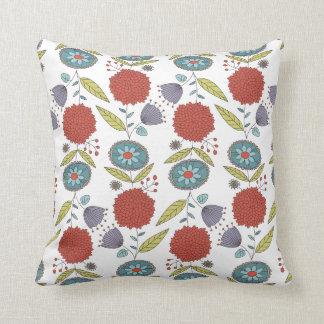 Floral Whimsy Pattern Throw Pillow