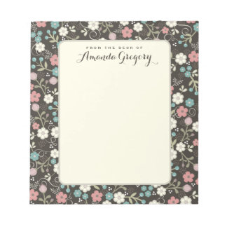 Floral Whimsy Personalized Desk Notepad   Black
