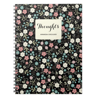 Floral Whimsy Personalized Thoughts Notebook
