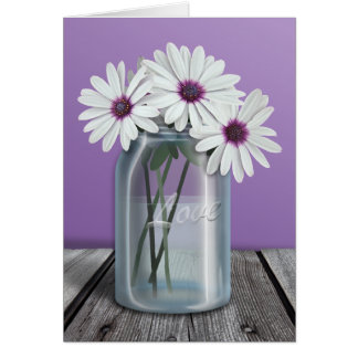 Floral White and Purple Daisy Mason Jar cards