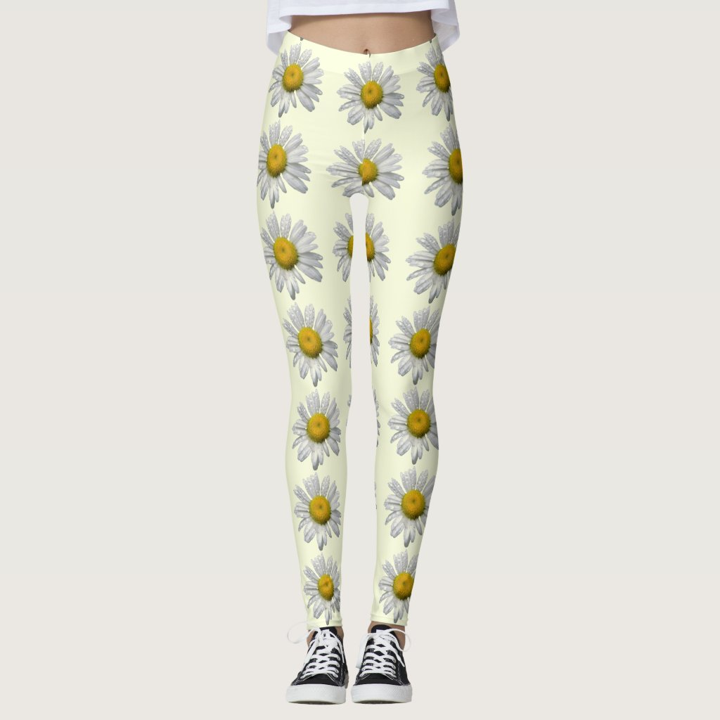 Floral White and Yellow Daisy Flower Leggings
