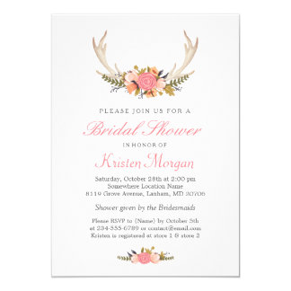 Floral White Antler Boho Chic Bridal Shower Card