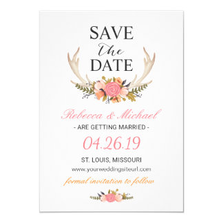 Floral White Antler Boho Wedding Save the Date Card
