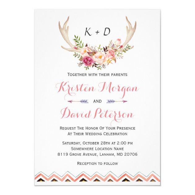 Floral White Antler Ethnic Boho Decor Wedding Card