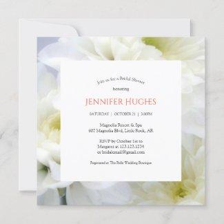 Floral White Bridal Shower Invitation
