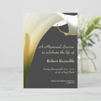 Floral White Calla Memorial Funeral Service Invitation