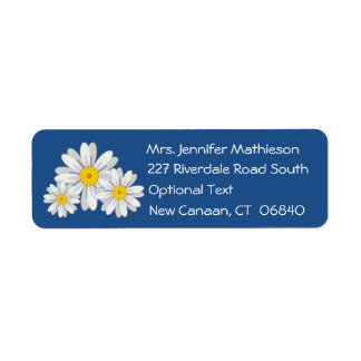 Floral White Daisy Flower Blue Return Address Label