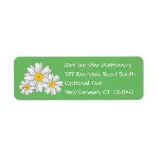 Floral White Daisy Flower Green Return Address Label