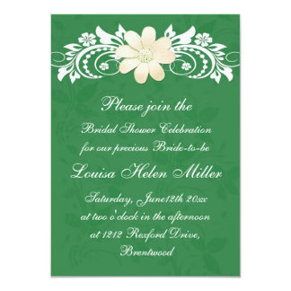 Floral white daisy gerbera on green Bridal Shower Card