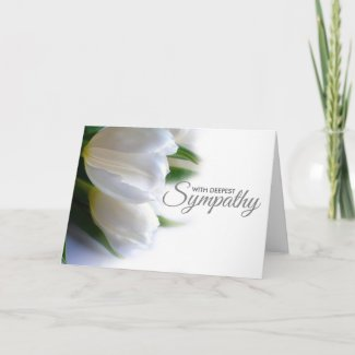 Floral White Deepest Sympathy Condolence Card