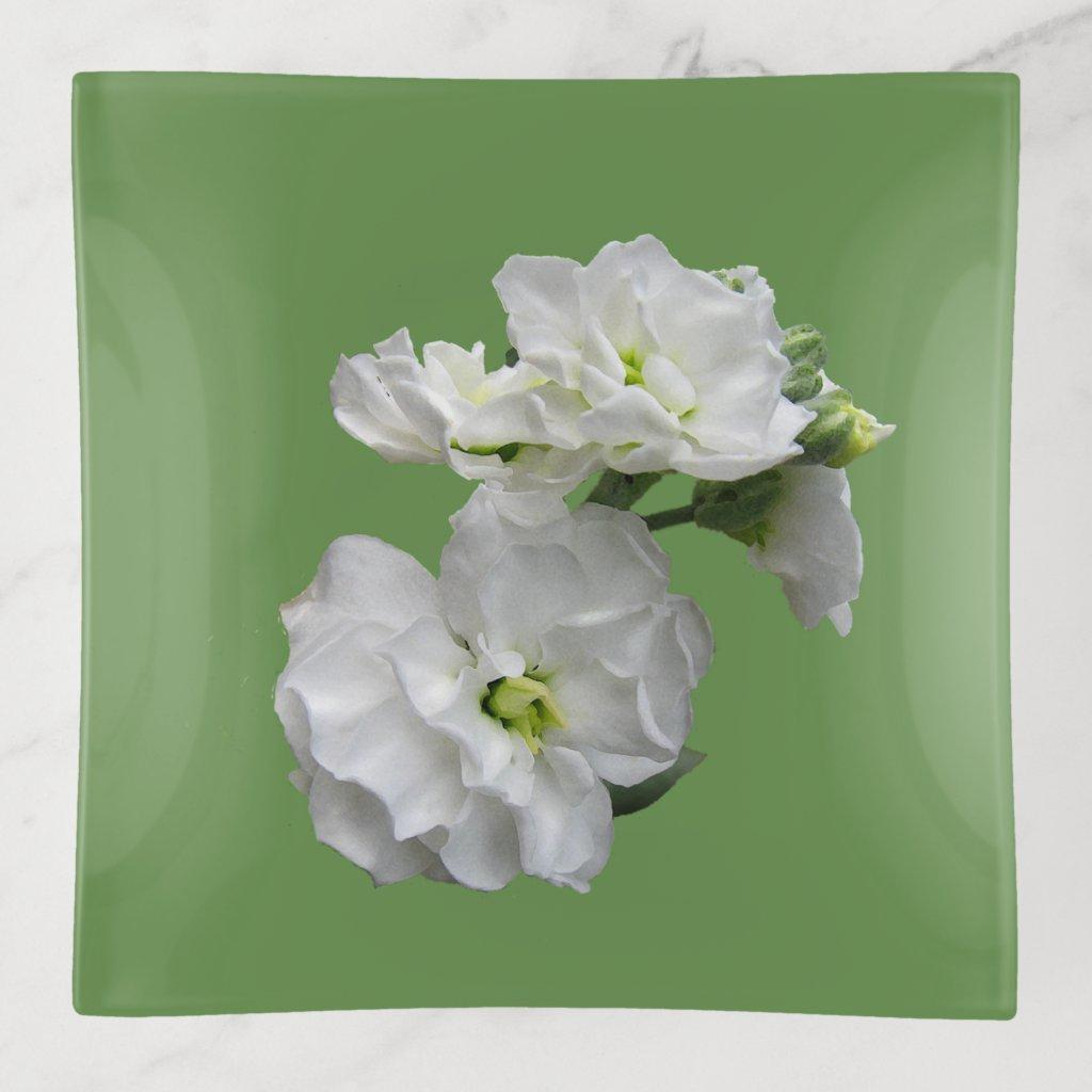 Floral White Garden Flower Trinket Tray