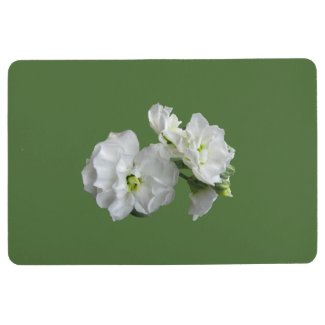Floral White Garden Flowers on Green Floor Mat