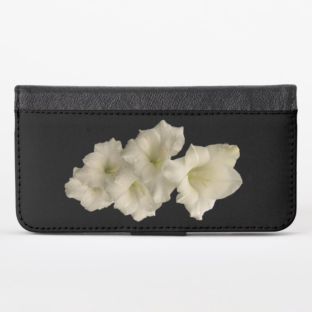 Floral White Gladiola Flowers iPhone X Wallet Case
