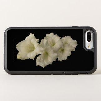 Floral White Gladiola Garden Flower Black