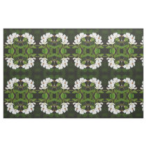 Floral white, green and black fabric