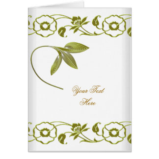 Floral White Green Elite Avocado Green Elegant Stationery Note Card