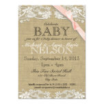 Floral White Lace and Bow Baby Shower Blush Pink 5x7 Paper Invitation Card
