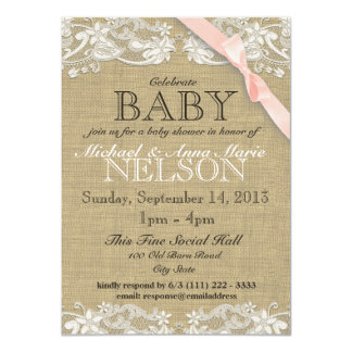 Floral White Lace and Bow Baby Shower Custom Invites