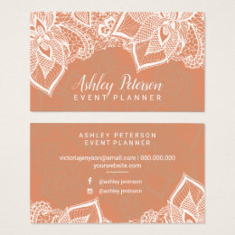 Floral white lace tan copper event planner business card