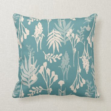 lauriekentdesigns Floral White on Teal Pattern Throw Pillow