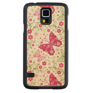 Floral White Pattern Carved® Maple Galaxy S5 Case