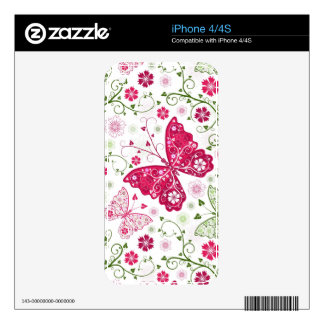 Floral White Pattern iPhone 4S Decal