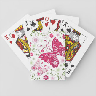 Floral White Pattern Playing Cards