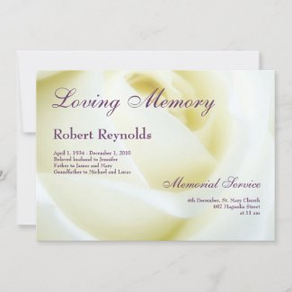 Floral White Rose Funeral or Memorial Announcement