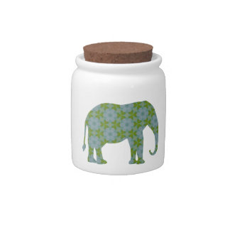 Floral Wild Elephant Candy Jars