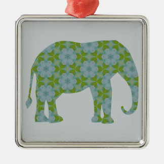 Floral Wild Elephant Metal Ornament