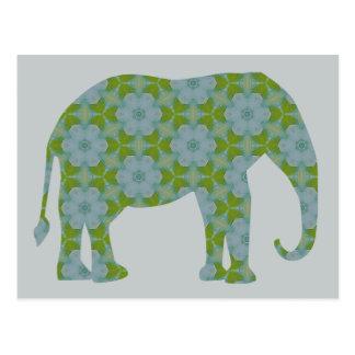 Floral Wild Elephant Postcard