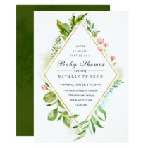 Floral Wild Green Foliage Baby Shower Invitation