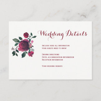 Floral winter burgundy wedding guest details enclosure card