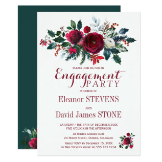 Floral Winter Christmas Engagement Party Invite at Zazzle