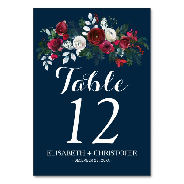 Floral winter navy burgundy wedding guest table number